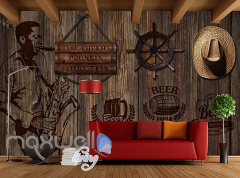 Image of Country Style Poster Wooden Wall With Hat And Black Beer Sign Art Wall Murals Wallpaper Decals Prints Decor IDCWP-JB-000370