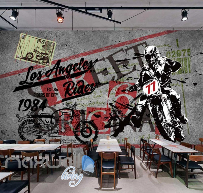 Poster Motorbike Painted In Wall Art Wall Murals Wallpaper Decals Prints Decor IDCWP-JB-000371