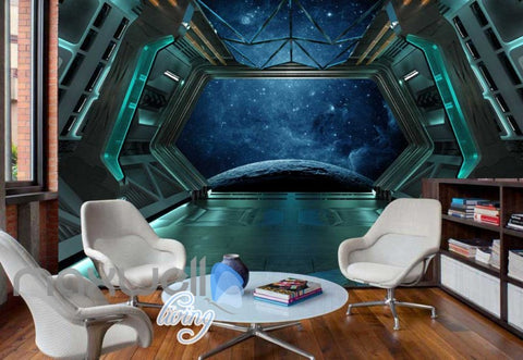 Image of Space View From Spaceship Art Wall Murals Wallpaper Decals Prints Decor IDCWP-JB-000376
