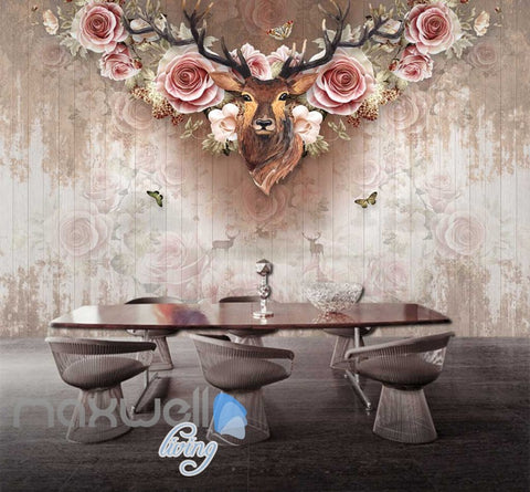 Image of Vintage Deer Head With Roses On Wall Paper Art Wall Murals Wallpaper Decals Prints Decor IDCWP-JB-000377