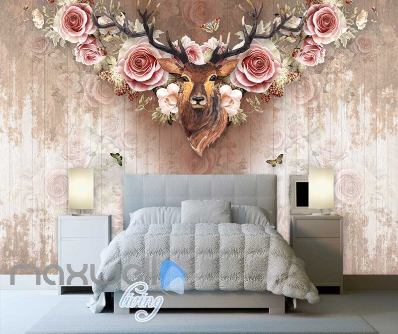 Vintage Deer Head With Roses On Wall Paper Art Wall Murals Wallpaper Decals Prints Decor IDCWP-JB-000377