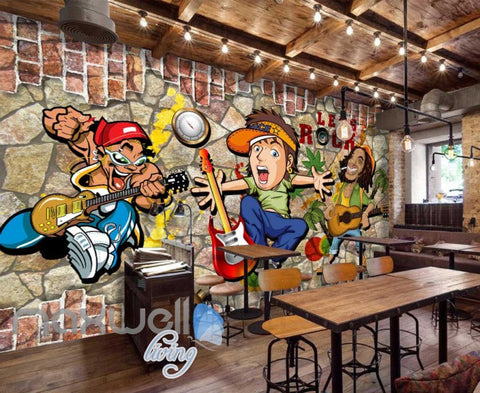 Image of 3D Graffiti Rock Cartoon Breaking Through Brick Wall Art Wall Murals Wallpaper Decals Prints Decor IDCWP-JB-000381