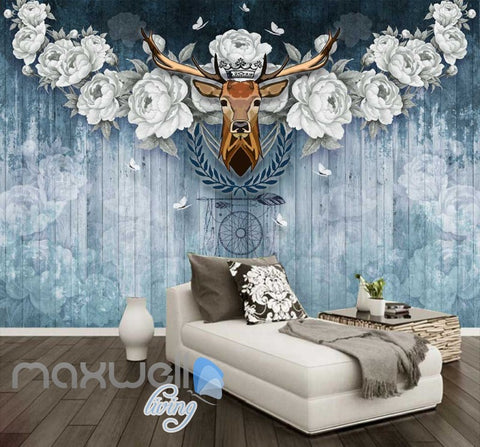 Image of Vintage Deer Head With White Roses On Blue Wooden Wall Art Wall Murals Wallpaper Decals Prints Decor IDCWP-JB-000382