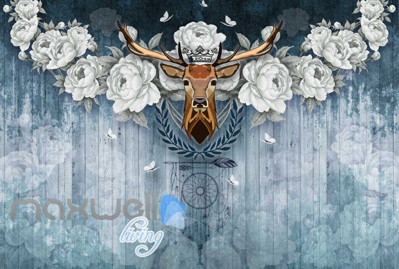 Vintage Deer Head With White Roses On Blue Wooden Wall Art Wall Murals Wallpaper Decals Prints Decor IDCWP-JB-000382