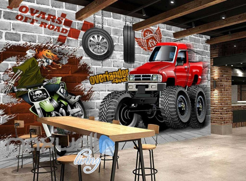 Graphic Design Truck And Motorbike Breaking Through Wall Art Wall Murals Wallpaper Decals Prints Decor IDCWP-JB-000383