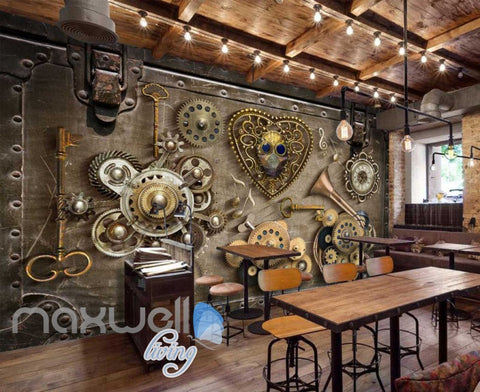 Image of Grunge Poster With Old Gears Art Wall Murals Wallpaper Decals Prints Decor IDCWP-JB-000388