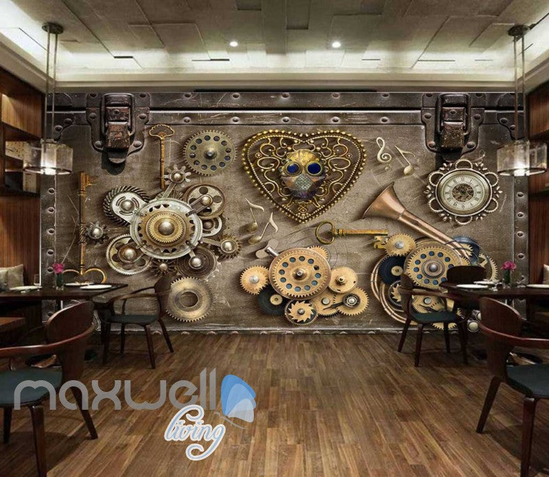 Grunge Poster With Old Gears Art Wall Murals Wallpaper Decals Prints Decor IDCWP-JB-000388
