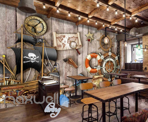 Image of Grunge Poster Of Pirates On Wooden Wall Art Wall Murals Wallpaper Decals Prints Decor IDCWP-JB-000390