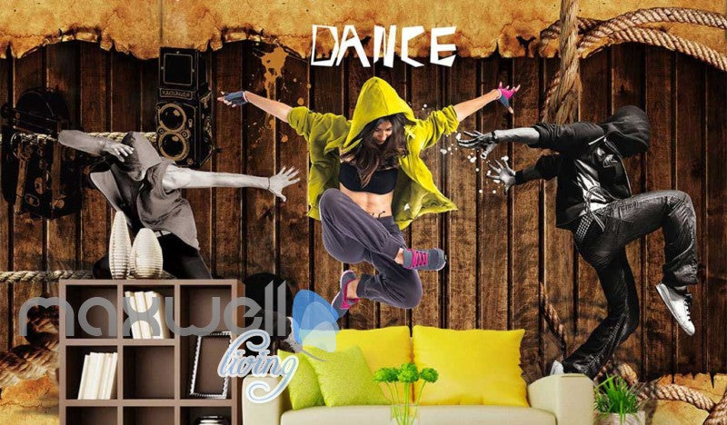3D Graphic Design Dancers Over Wooden Wall Art Wall Murals Wallpaper Decals Prints Decor IDCWP-JB-000391
