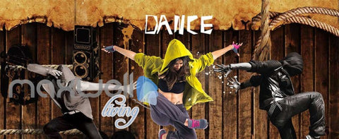 Image of 3D Graphic Design Dancers Over Wooden Wall Art Wall Murals Wallpaper Decals Prints Decor IDCWP-JB-000391