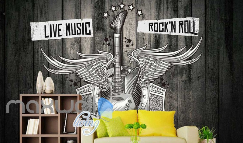 Black And White Poster Of A Guitar With Wings Art Wall Murals