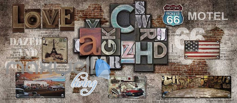 Poster Collage Poster With Letters And Usa Plates Art Wall Murals Wallpaper Decals Prints Decor IDCWP-JB-000393