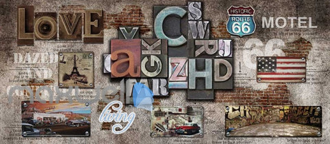 Image of Poster Collage Poster With Letters And Usa Plates Art Wall Murals Wallpaper Decals Prints Decor IDCWP-JB-000393