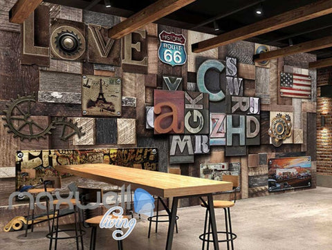 Image of Poster Collage Poster With Letters And Usa Plates Art Wall Murals Wallpaper Decals Prints Decor IDCWP-JB-000394