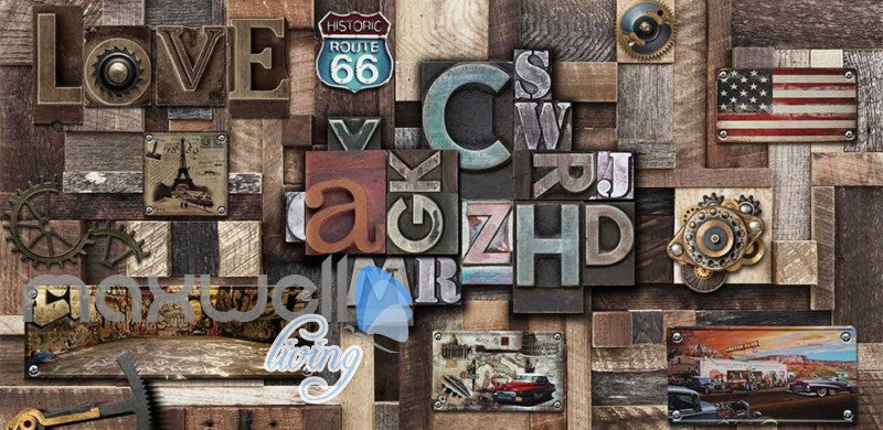 Poster Collage Poster With Letters And Usa Plates Art Wall Murals Wallpaper Decals Prints Decor IDCWP-JB-000394