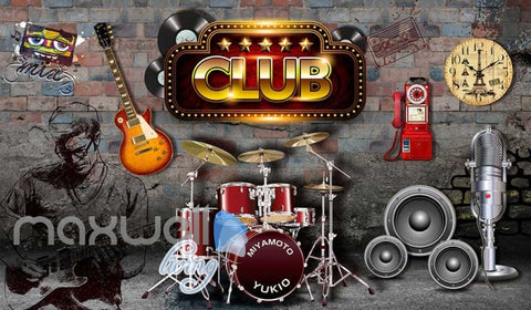 Image of Club Poster With Music Icons Art Wall Murals Wallpaper Decals Prints Decor IDCWP-JB-000396