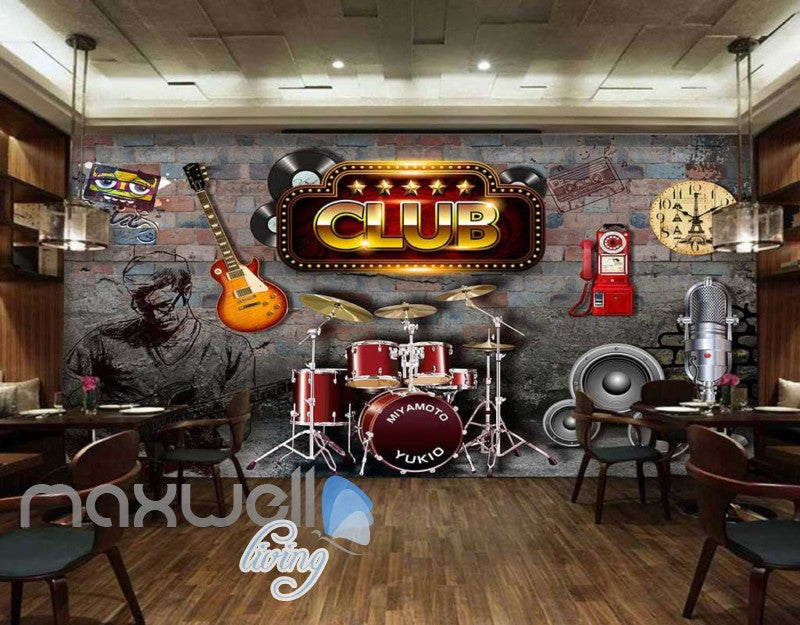 Club Poster With Music Icons Art Wall Murals Wallpaper Decals Prints Decor IDCWP-JB-000396