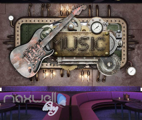 Image of Metal Structure With Guitar And Music Sign Art Wall Murals Wallpaper Decals Prints Decor IDCWP-JB-000402