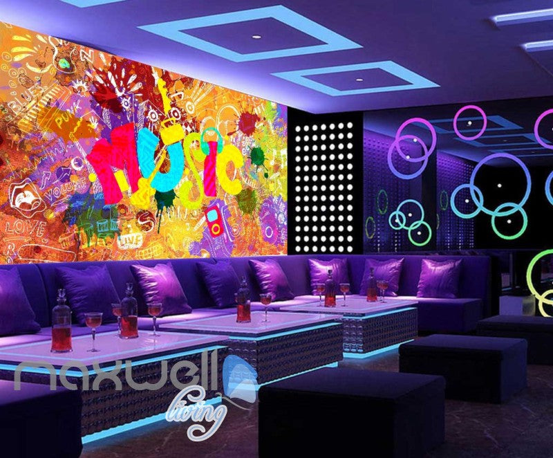 Colourful Music Sign With A Collage Of Words  Art Wall Murals Wallpaper Decals Prints Decor IDCWP-JB-000406