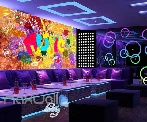 Image of Colourful Music Sign With A Collage Of Words  Art Wall Murals Wallpaper Decals Prints Decor IDCWP-JB-000406