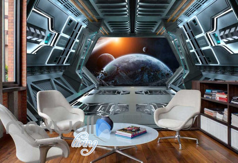 Image of Vies Of Planets And Earth From Spaceship Art Wall Murals Wallpaper Decals Prints Decor IDCWP-JB-000407