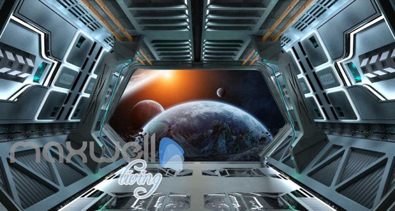 Vies Of Planets And Earth From Spaceship Art Wall Murals Wallpaper Decals Prints Decor IDCWP-JB-000407