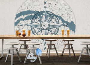 World map compass sea design Art Wall Murals Wallpaper Decals Prints D¨¦cor IDCWP-JB-000413