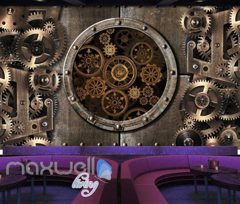 Image of Metal bronze gear cog working Art Wall Murals Wallpaper Decals Prints D¨¦cor IDCWP-JB-000414