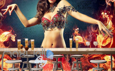 Image of belly dance woman with fire on brick wall Art Wall Murals Wallpaper Decals Prints Decor IDCWP-JB-000448