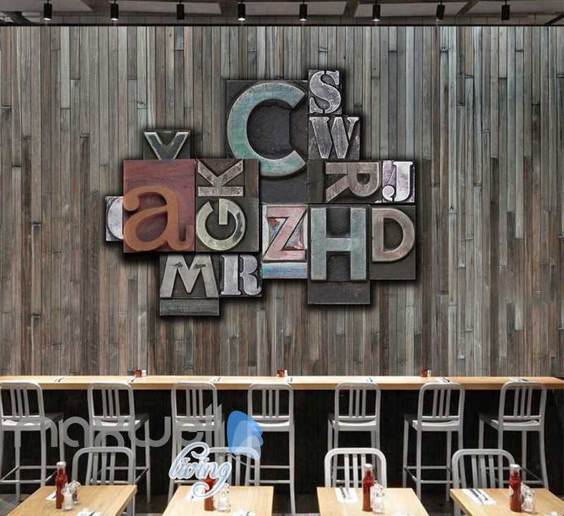 wooden wall with print typography letters Art Wall Murals Wallpaper