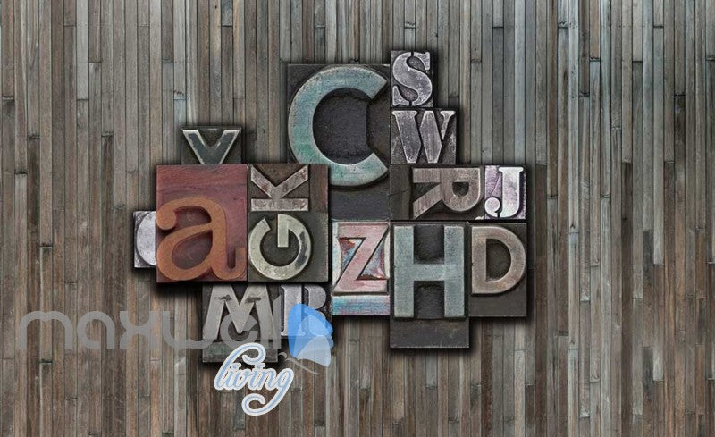 wooden wall with print typography letters Art Wall Murals Wallpaper Decals Prints Decor IDCWP-JB-000449