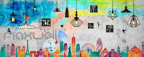 Image of colourful graphic disign of london Art Wall Murals Wallpaper Decals Prints Decor IDCWP-JB-000453