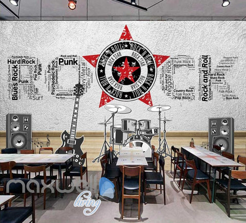 Image of rock instruments with rock letters on wall Art Wall Murals Wallpaper Decals Prints Decor IDCWP-JB-000466