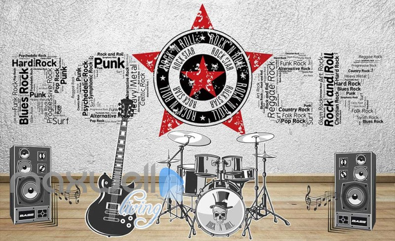 rock instruments with rock letters on wall Art Wall Murals Wallpaper Decals Prints Decor IDCWP-JB-000466