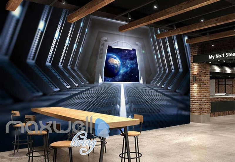 3d wallpaper view of planet from a spaceship Art Wall Murals Wallpaper Decals Prints Decor IDCWP-JB-000468
