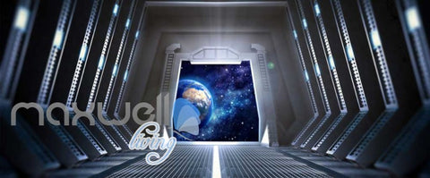 Image of 3d wallpaper view of planet from a spaceship Art Wall Murals Wallpaper Decals Prints Decor IDCWP-JB-000468