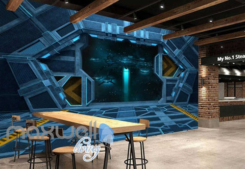 Image of 3d wallpaper view of planet from a spaceship Art Wall Murals Wallpaper Decals Prints Decor IDCWP-JB-000469