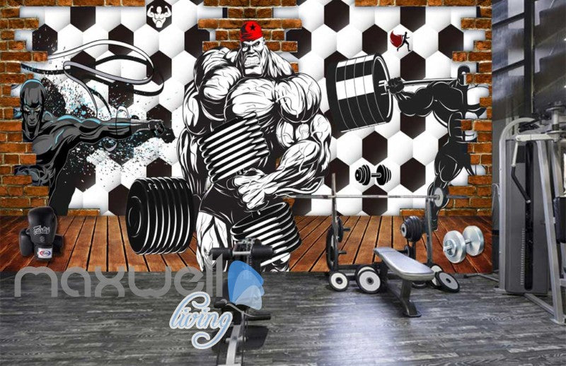 3d wallpaper graphic desing for a gym Art Wall Murals Wallpaper