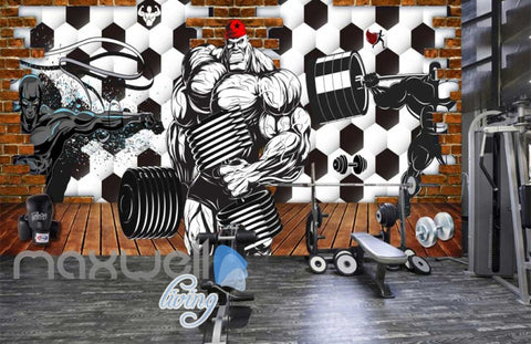 Image of 3d wallpaper graphic desing for a gym Art Wall Murals Wallpaper Decals Prints Decor IDCWP-JB-000471