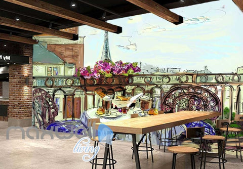 Image of wallpaper drawing of terrace with eiffel tower veiw Art Wall Murals Wallpaper Decals Prints Decor IDCWP-JB-000472