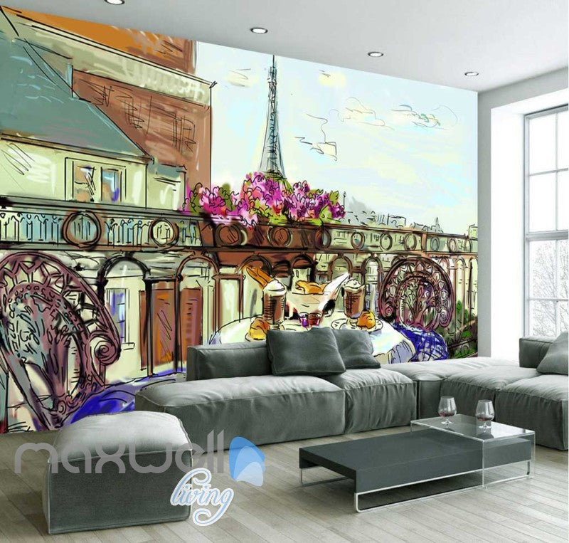 wallpaper drawing of terrace with eiffel tower veiw Art Wall Murals Wallpaper Decals Prints Decor IDCWP-JB-000472