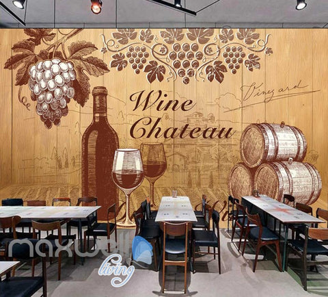 Image of retro wallpaper wine design Art Wall Murals Wallpaper Decals Prints Decor IDCWP-JB-000473