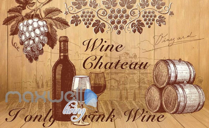 retro wallpaper wine design Art Wall Murals Wallpaper Decals Prints Decor IDCWP-JB-000473