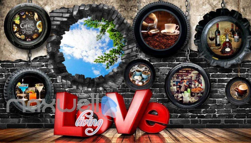 3d wallpaper with car wheels and hole on brick Art Wall Murals Wallpaper Decals Prints Decor IDCWP-JB-000478