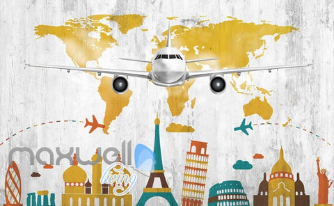 Image of colourful graphic design with airplane and icon monuments of cities Art Wall Murals Wallpaper Decals Prints Decor IDCWP-JB-000480