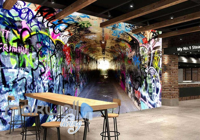3d wallpaper of a dark tunnel with graffiti on walls Art Wall Murals Wallpaper Decals Prints Decor IDCWP-JB-000481