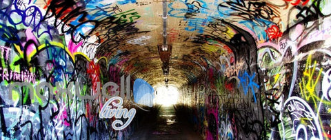 Image of 3d wallpaper of a dark tunnel with graffiti on walls Art Wall Murals Wallpaper Decals Prints Decor IDCWP-JB-000481