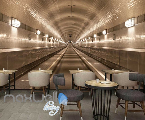 Image of 3d wallpaper of a road path tunnel Art Wall Murals Wallpaper Decals Prints Decor IDCWP-JB-000482