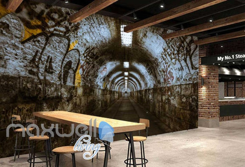 Image of 3d wallpaper of a dark tunnel with graffiti on walls Art Wall Murals Wallpaper Decals Prints Decor IDCWP-JB-000483