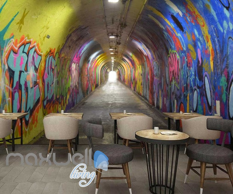 3d Wallpaper Of A Dark Tunnel With Graffiti On Walls Art Wall Murals